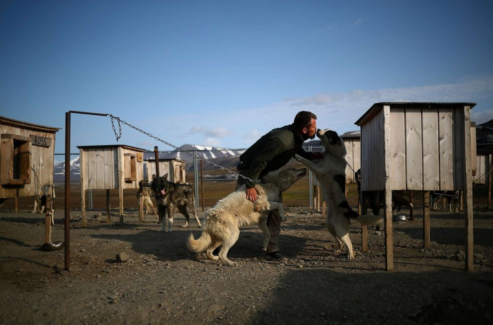 PHOTO: Audun Salte prepares his huskies for sledding at his husky yard in the town of Longyearbyen in Svalbard, Norway, Aug. 6, 2019.