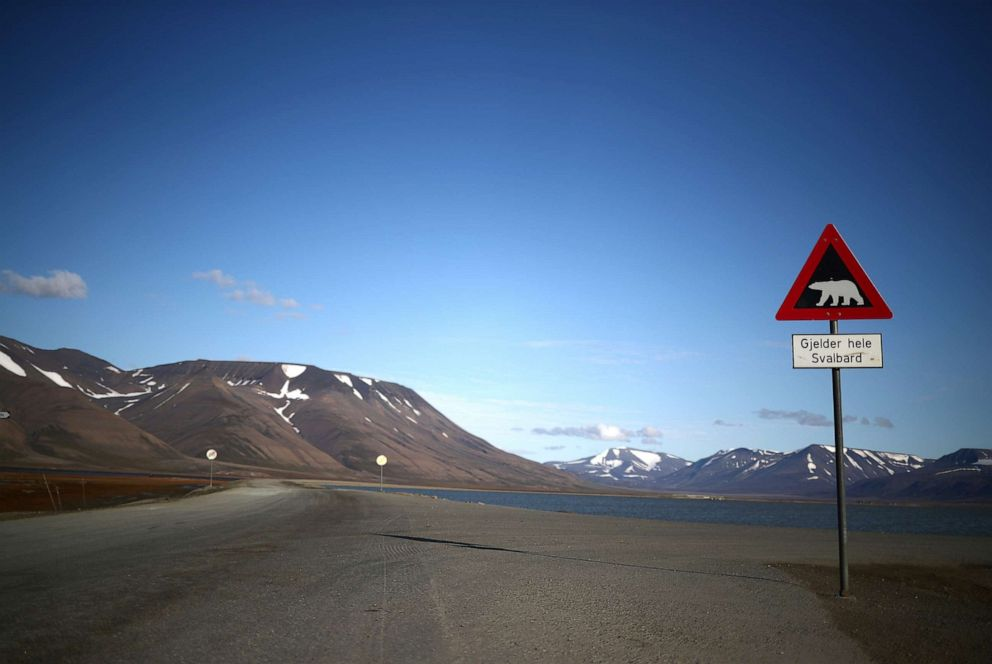 PHOTO: A sign warns of the danger from polar bears in the town of Longyearbyen in Svalbard, Norway, Aug. 3, 2019.