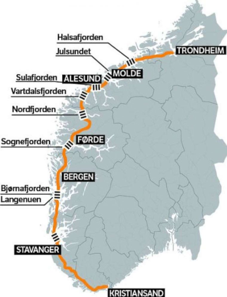 PHOTO: A map shows the fjords along the west coast of Norway and the route of E39.