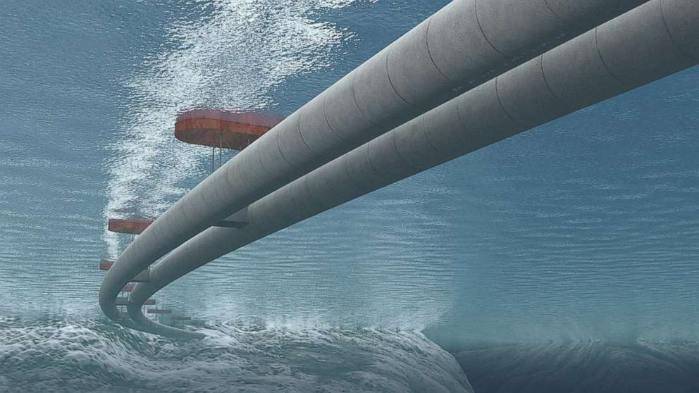 PHOTO: An illustration shows what a potential underwater floating tunnel, with tubes for traffic going both ways, would look like in Norway.