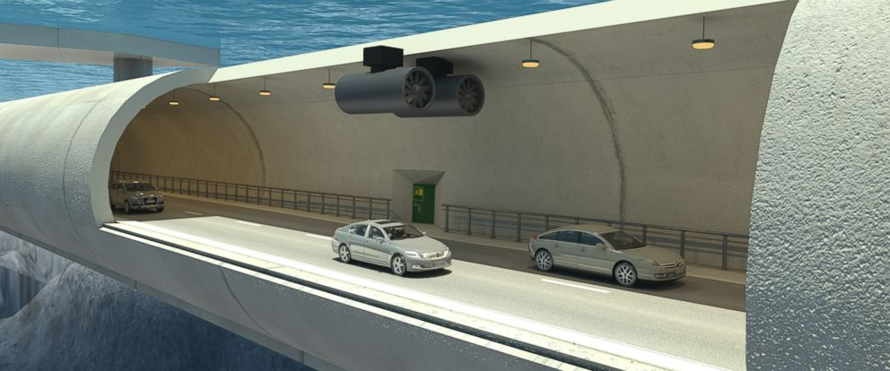 PHOTO: An illustration shows the inside of a potential submerged floating tunnel that would be used to cross a fjord in Norway.
