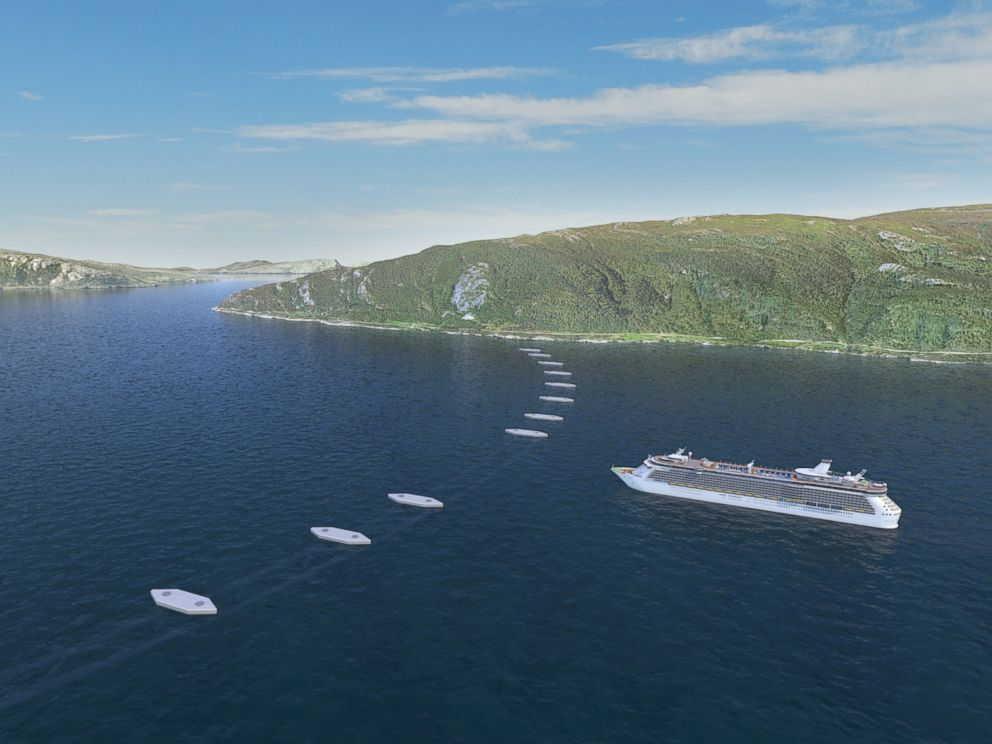 PHOTO: An illustration shows a potential submerged floating tunnel (SFT), as it would show on the surface, to cross a fjord in Norway.