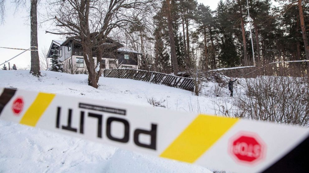Police work outside the house of Norwegian Anne-Elisabeth Falkevik Hagen, who is the wife of real estate investor Tom Hagen, and has been kidnapped according to local media, in Fjellhamar, Norway Jan. 9, 2019.