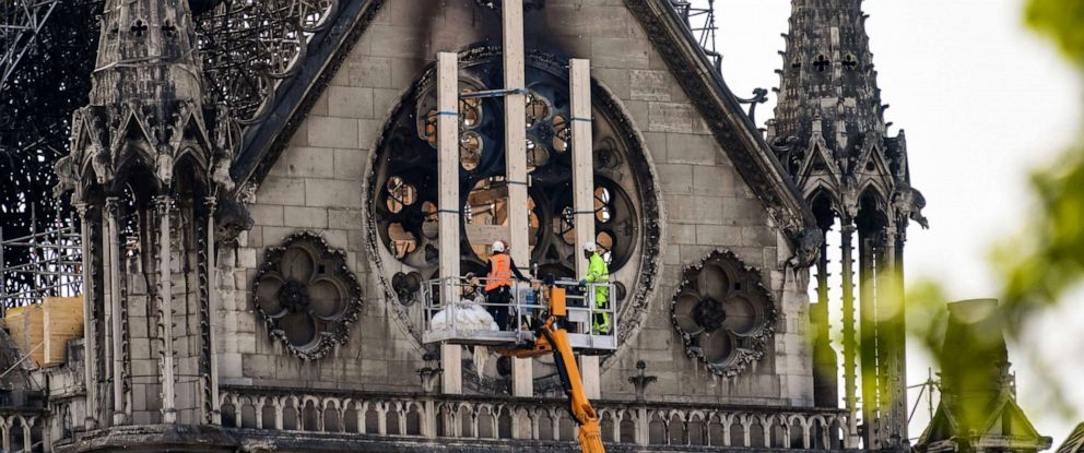 PHOTO: Workers intervene on the northern side of Notre-Dame Cathedral in Paris, April 18, 2019.