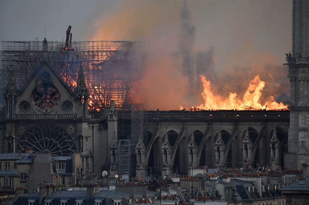 PHOTO: Flames burning the roof of the Notre-Dame Cathedral in Paris, April 15, 2019.