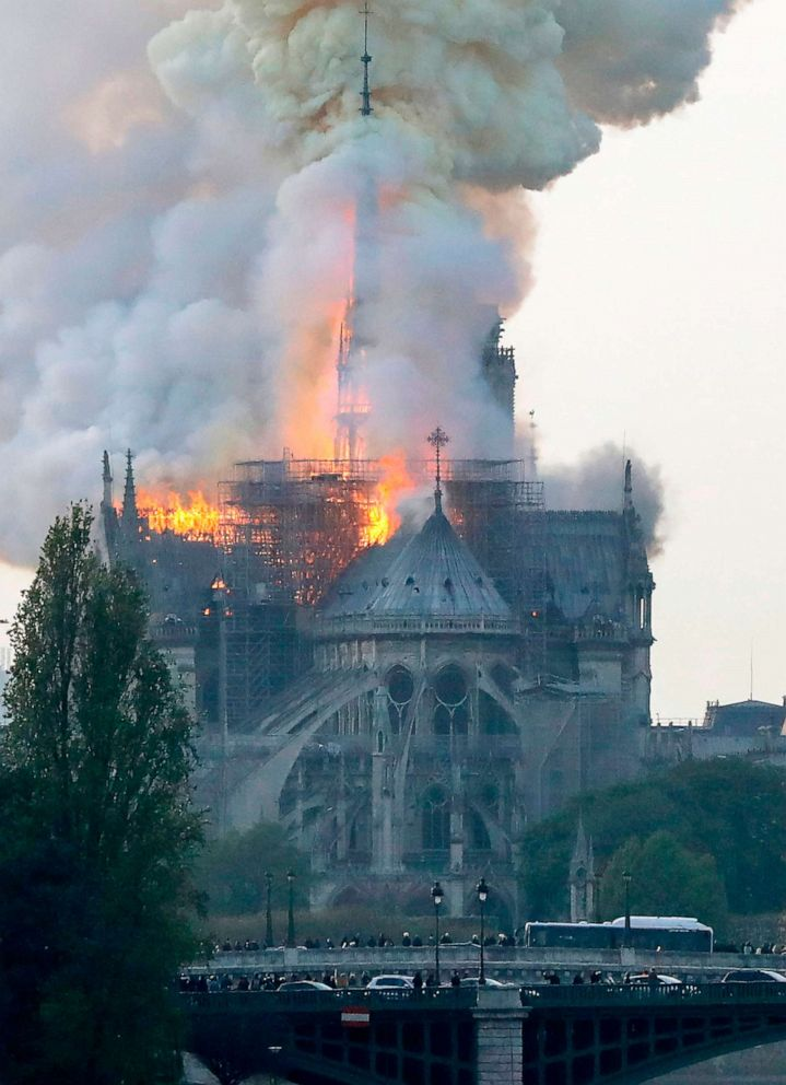 Flames rise during a fire at Notre-Dame Cathedral in Paris, April 15, 2019.