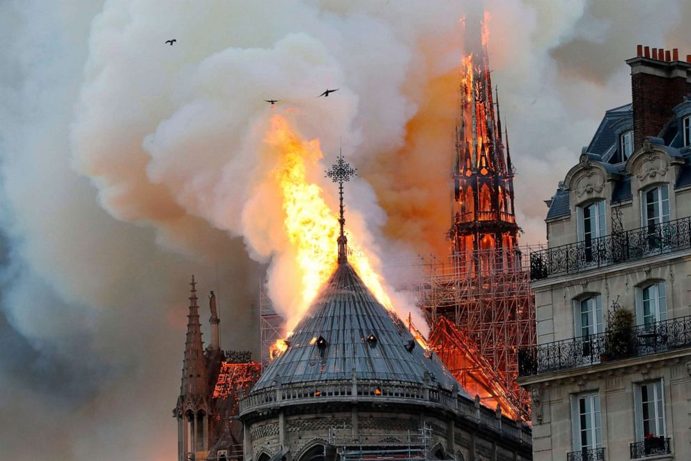 PHOTO: Flames rise during a fire at Notre-Dame Cathedral in Paris, April 15, 2019.