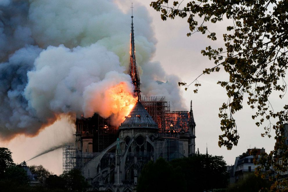 Flames are seen from the roof at Notre-Dame Cathedral in Paris, April 15, 2019.