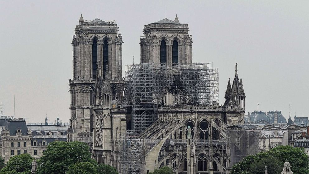 PHOTO: Notre-Dame-de-Paris in the aftermath of a fire that devastated the cathedral, April 16, 2019.
