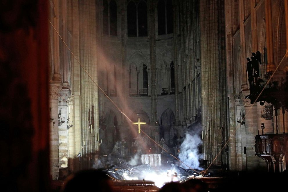 PHOTO: Smoke is seen in the interior of Notre Dame cathedral in Paris, April 15, 2019.
