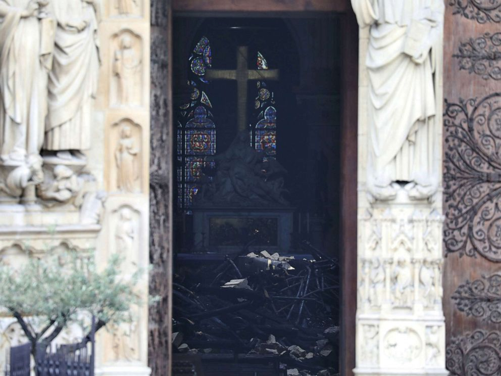 PHOTO: Charred debris inside Notre-Dame-de Paris in the aftermath of a fire that devastated the cathedral in Paris, April 16, 2019.
