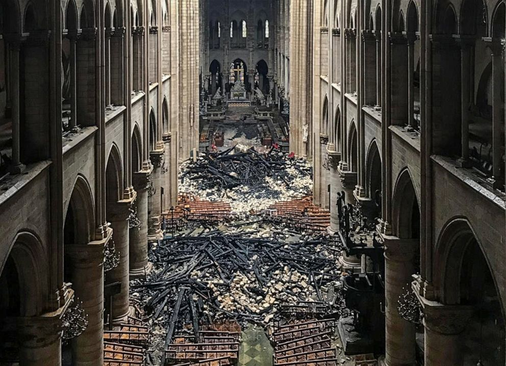 PHOTO: An interior view of the Notre-Dame Cathedral in Paris in the aftermath of a fire that devastated the cathedral, April 16, 2019.