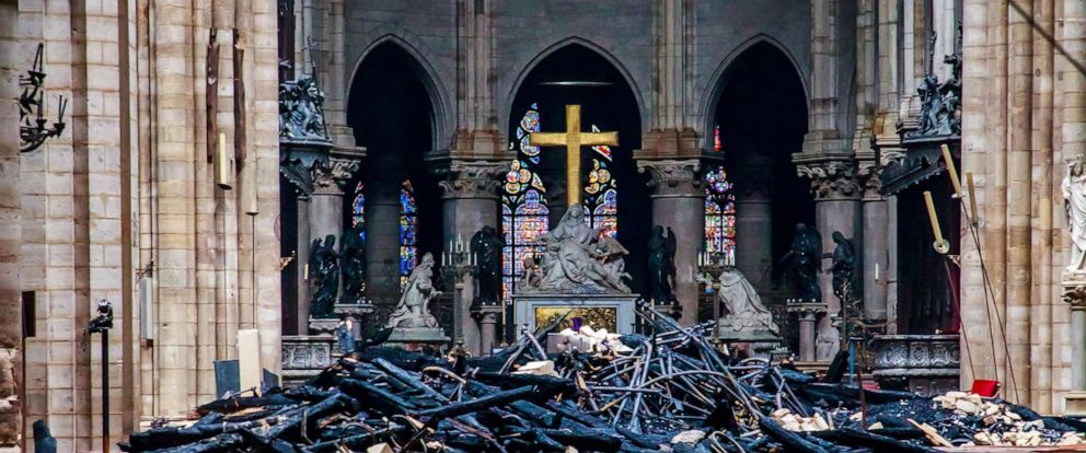 PHOTO: A view of the debris inside Notre-Dame de Paris in the aftermath of a fire that devastated the cathedral in Paris, April 16, 2019.