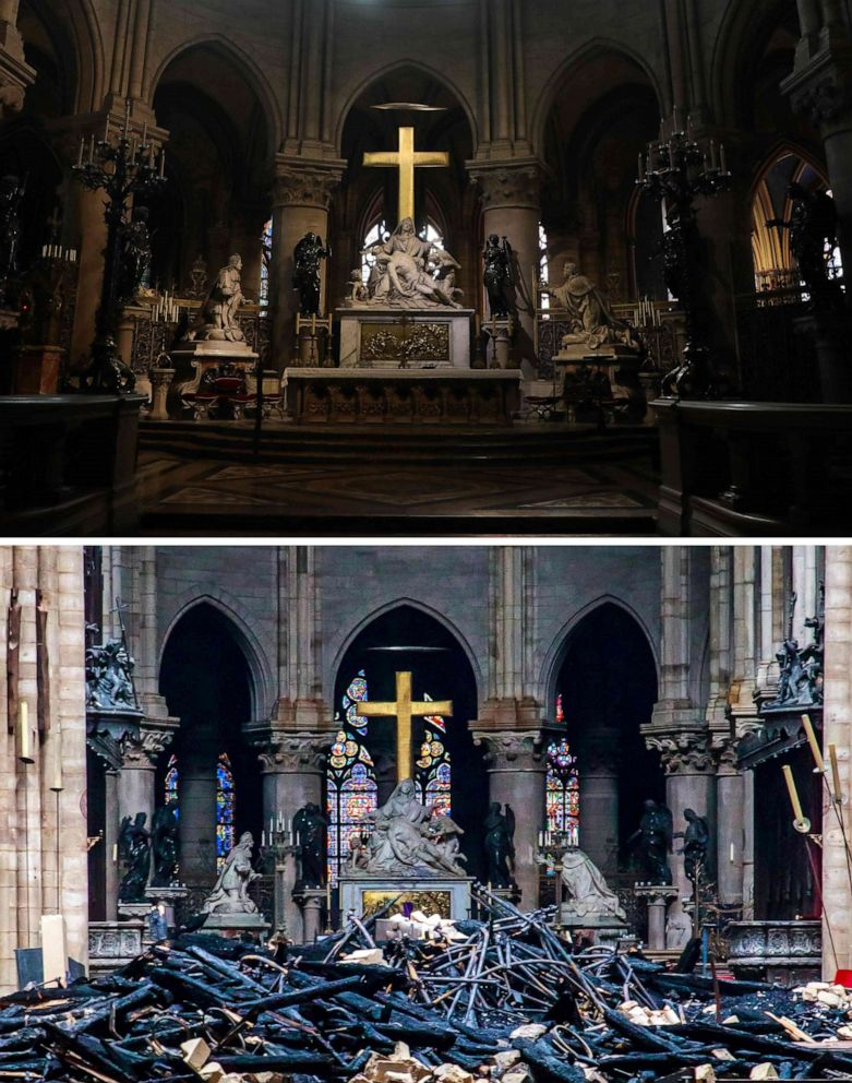 A combination made on April 16, 2019 shows above: the heart and transept at Notre Dame de Paris Cathedral in Paris on June 26, 2018 and, bottom, the Notre-Dame Cathedral in Paris in the aftermath one day after the fire at the cathedral, April 16, 2019