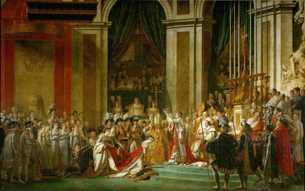 A painting by Jacques Louis David, 1748-1825, depicts the coronation of Napoleon as the Emperor of the French in Notre Dame Cathedral in Paris on Dec. 2, 1804.