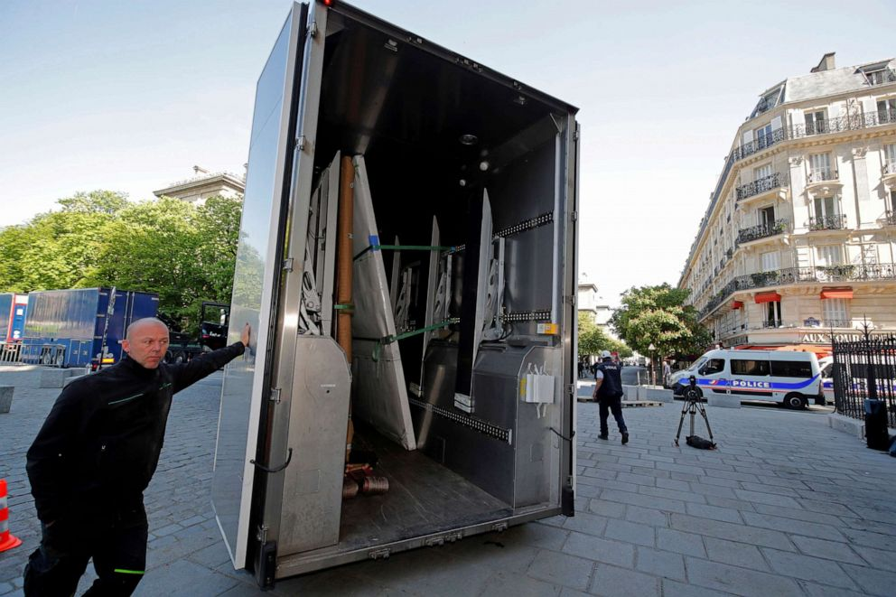 PHOTO: Large artworks are seen in a truck after being removed from Notre-Dame Cathedral to be secured after a massive fire devastated large parts of the gothic cathedral in Paris, April 19, 2019.