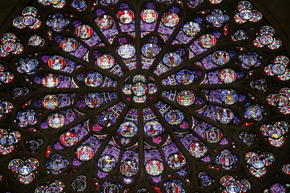 A view of the middle-age stained glass rosace on the southern side of the Notre-Dame de Paris cathedral, Nov. 29, 2012, in Paris.