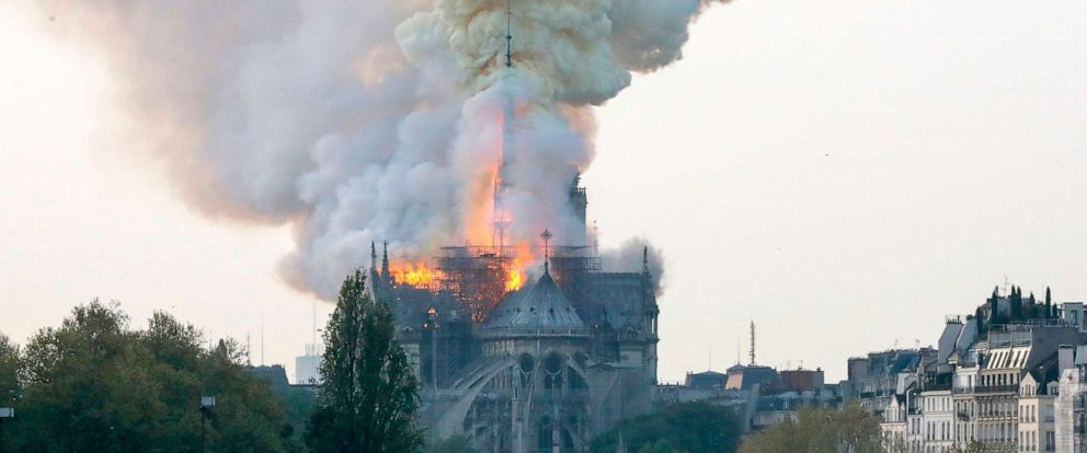 PHOTO: SFlames are seen during a fire at Notre-Dame Cathedral in Paris, April 15, 2019.