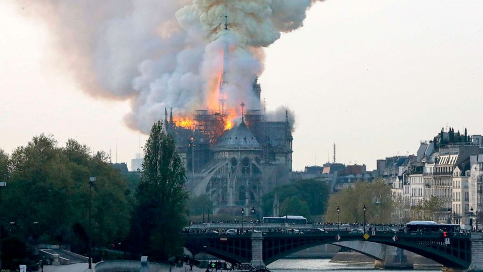 Flames are seen during a fire at Notre Dame Cathedral in Paris