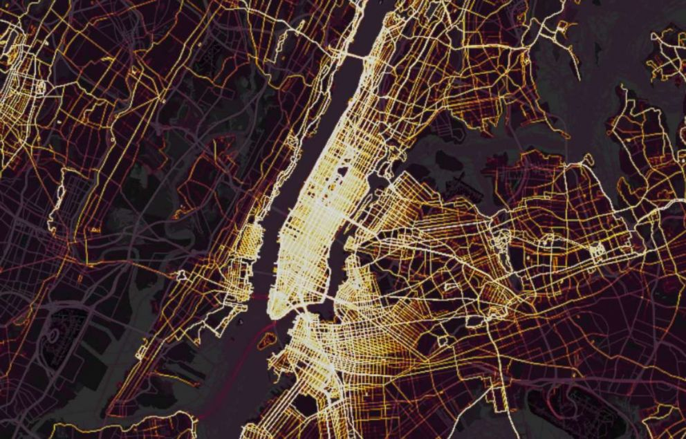 PHOTO: Data released by GPS tracking company Strava in November 2017 shows where the users of fitness devices are around the world, including New York City, as shown in this screenshot.