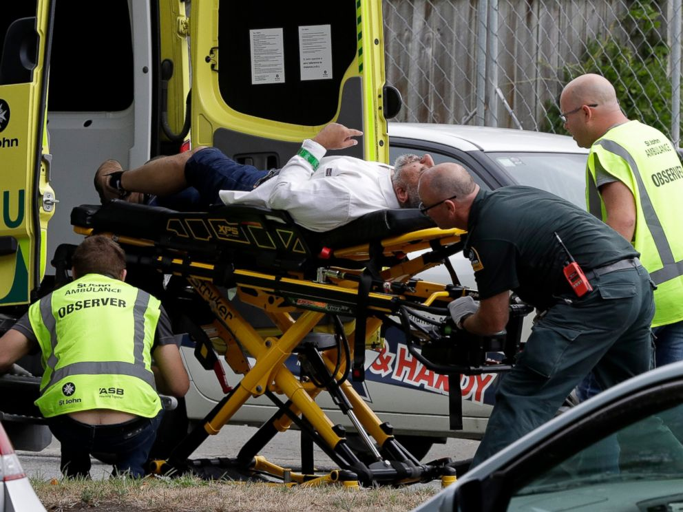 PHOTO: The ambulance staff brings a man out of a mosque in downtown Christchurch, New Zealand, Friday 15 March 2019. A witness says that many people were killed in a mass shooting in a mosque in the New Zealand city of Christchurch.