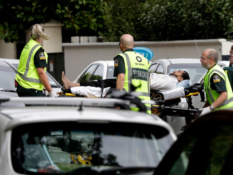 PHOTO: Ambulance workers take her husband from a mosque in the center of Christchurch, New Zealand, on March 15, 2019. Newcastle Christchurch mosque