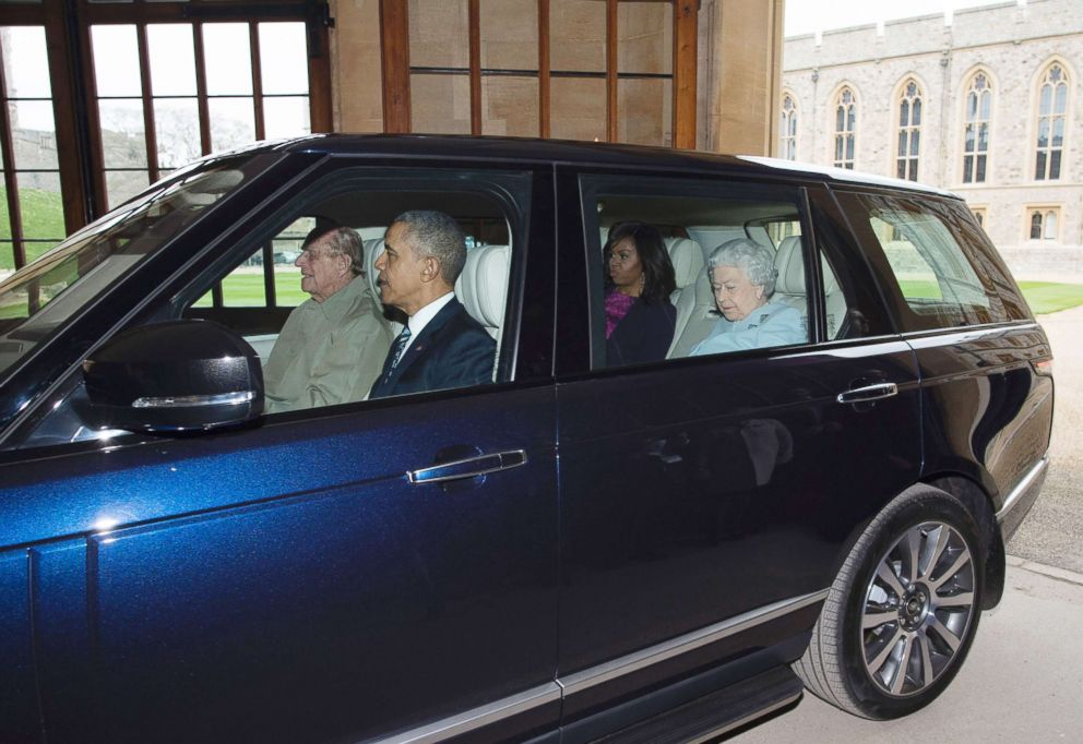 PHOTO: Britains Prince Philip, Duke of Edinburgh drives former President Barack Obama and former first Lady Michelle Obama, Britains Queen Elizabeth II from the helicopter into Windsor Castle in Windsor, England on April, 22, 2016.