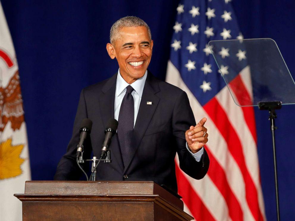 PHOTO: Former President Barack Obama speaks at the University of Illinois Urbana-Champaign in Urbana, Ill., on Sept. 7, 2018.