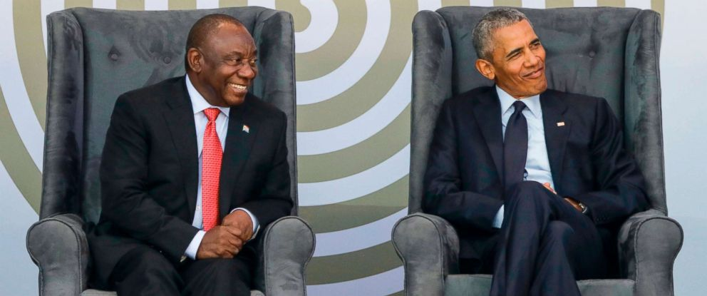 PHOTO: South African President Cyril Ramaphosa and former President Barack Obama attend the 2018 Nelson Mandela Annual Lecture at the Wanderers cricket stadium in Johannesburg, July 17, 2018.