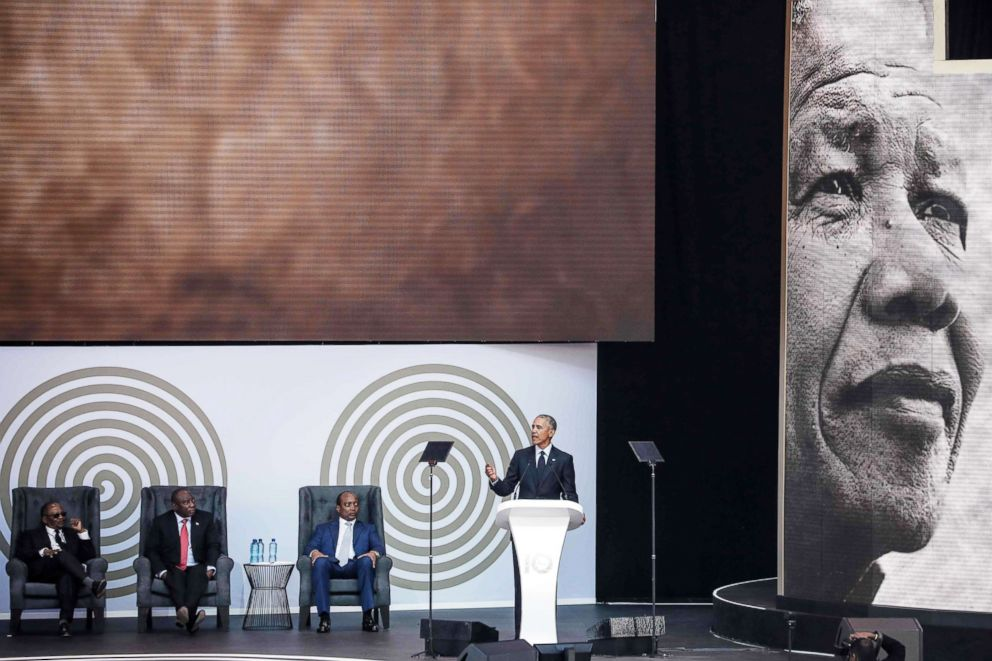 PHOTO: Former President Barack Obama speaks during the 2018 Nelson Mandela Annual Lecture at the Wanderers cricket stadium in Johannesburg, July 17, 2018.