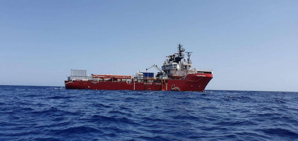 PHOTO: A handout photo made available by the NGO organization Medecins Sans Frontieres (MSF) showing the Ocean Viking vessel at sea on 23 August 2019, after they received permission to land in Malta.