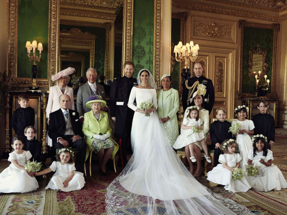 An official wedding photo of Britain's Prince Harry and Meghan Markle, with the royal family at Windsor Castle in Windsor, England, May 19, 2018.