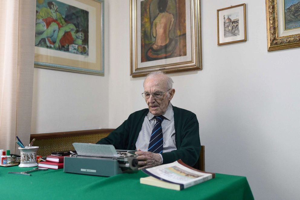 PHOTO: Giuseppe Paterno, 96, Italy's oldest student, who is studying for an undergraduate degree in history and philosophy at The University of Palermo, uses his typewriter as he studies for an exam, at his home in Palermo, Italy, November 4, 2019.