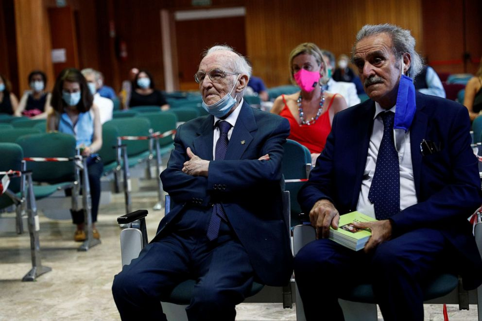 PHOTO: Giuseppe Paterno, 96, Italy's oldest student, attends his graduation, which had social distancing measures in place, after completing his undergraduate degree in history and philosophy at the University of Palermo in Palermo, Italy, July 29, 2020.