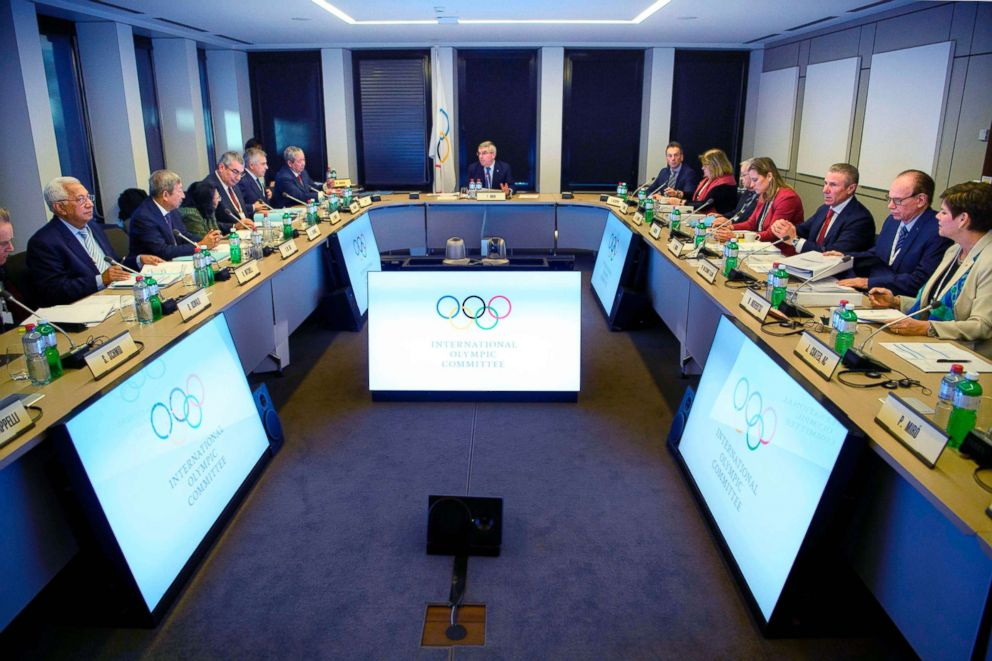 PHOTO: International Olympic Committee (IOC) executive board members on the first day of the executive board meeting of the International Olympic Committee (IOC) at the IOC headquarters, in Pully near Lausanne, Dec. 5, 2017.