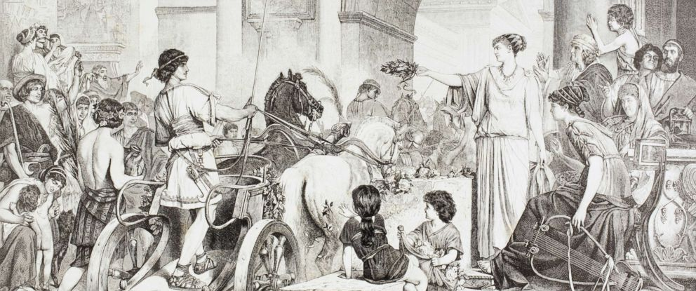 PHOTO: An illustration by De Courten depicting the Ancient Greek Olympic Games. The winner Of The chariot race is saluted and offered the Champions crown.