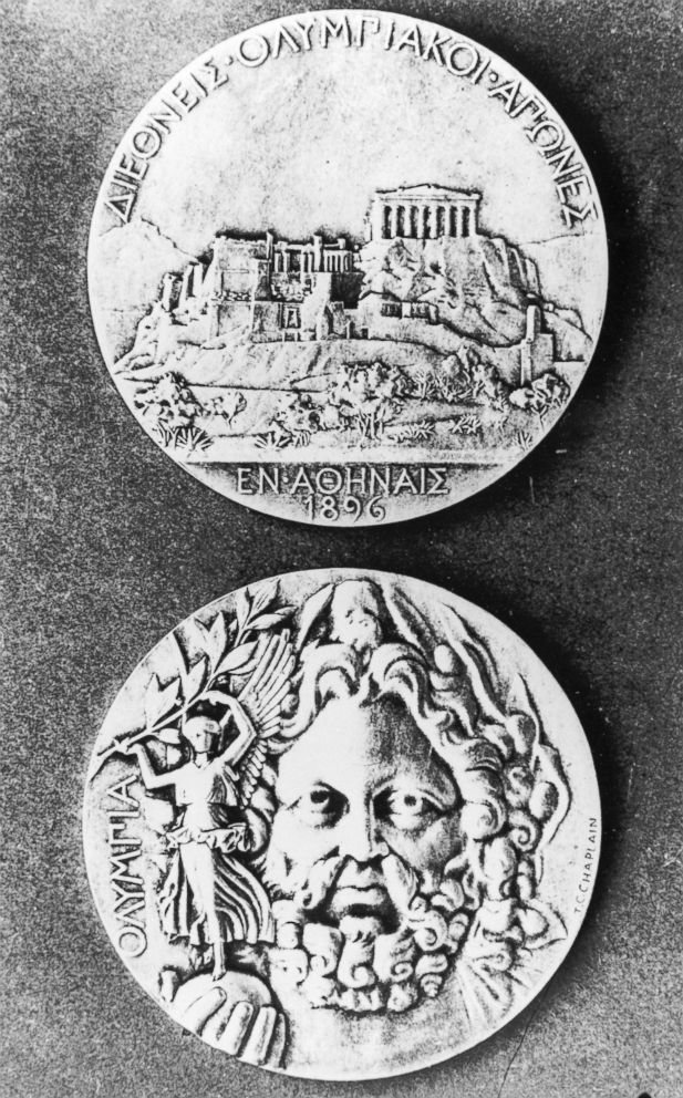 PHOTO: The Olympic medals from the 1896 Games in Athens, the first Olympic games of the modern era.