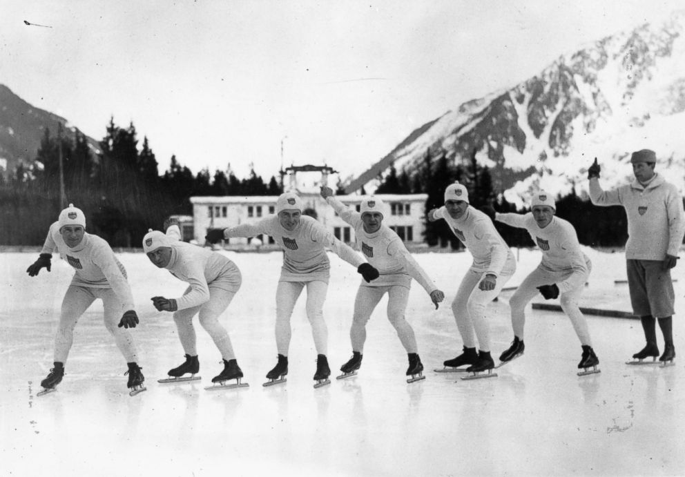 PHOTO: Members of the USA skating team shown on the ice practicing for the 1924 Winter Olympics at Chamonix, France. It was the first Winter Olympics held.