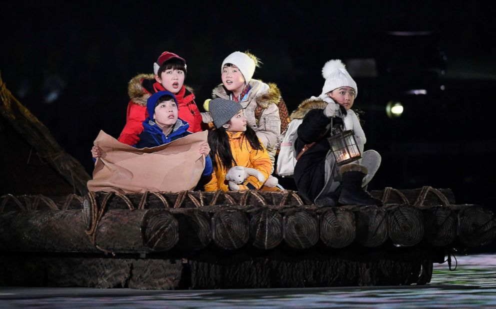 PHOTO:The five children perform during the Opening Ceremony of the 2018 Olympic Games, Pyeongchang, South Korea,Feb.9, 2018.