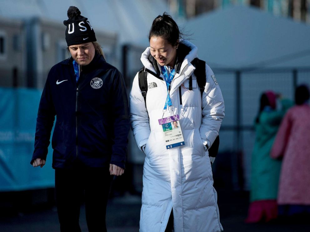 PHOTO: Hannah Brandt walks with her sister Marissa Brandt at the Gangneung Olympic Village before the Pyeongchang 2018 Winter Olympic Games, Feb. 6, 2018, in Gangneung, South Korea.