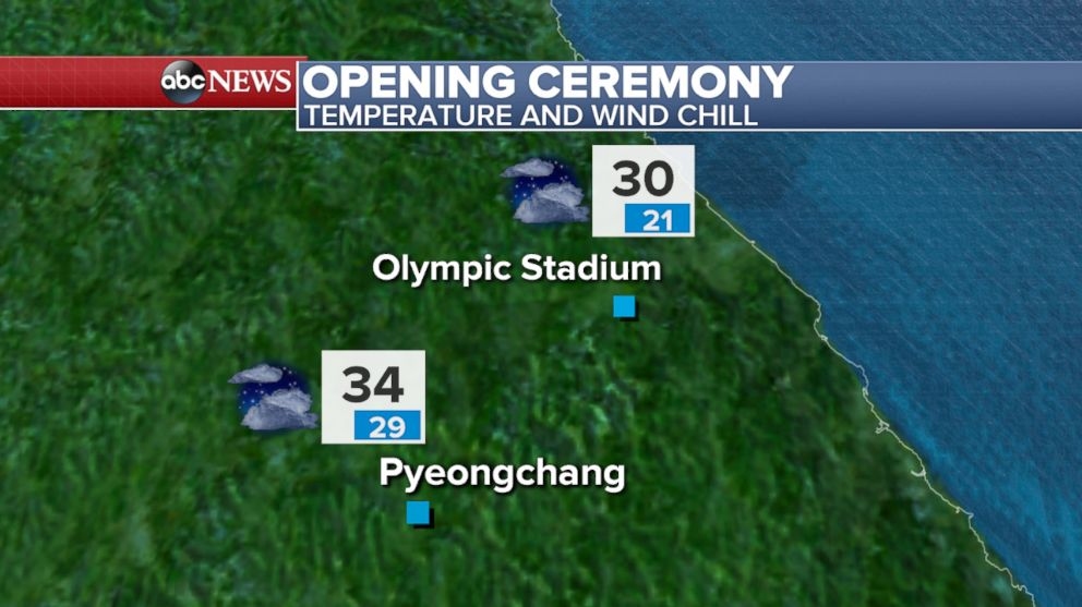 PHOTO: A map showing the temperature and wind chill factor during the Opening Ceremonies.