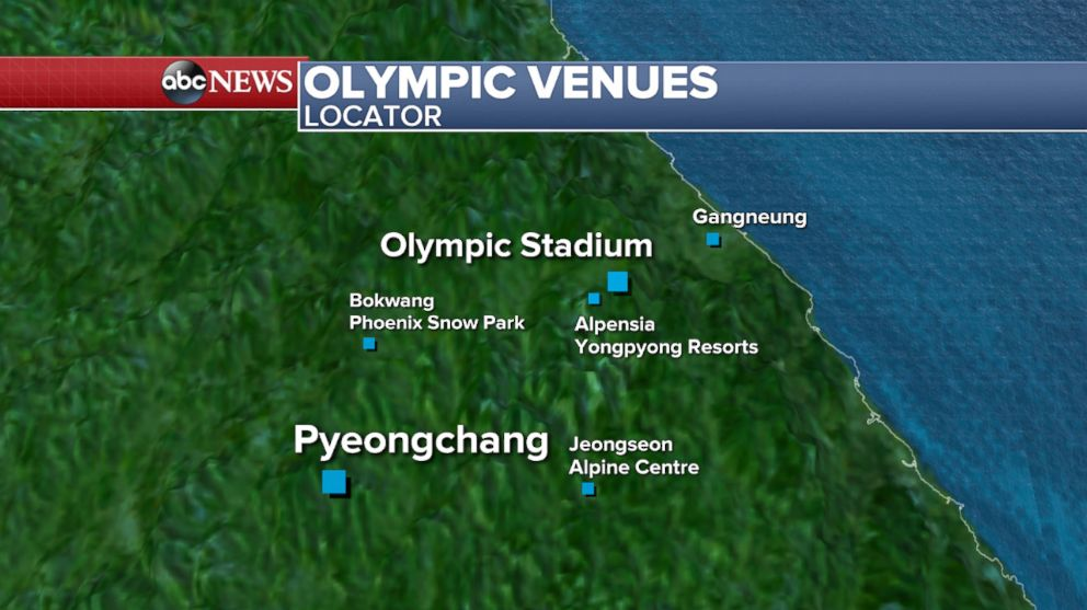 PHOTO: A map showing the locations of the different venues for the Winter Olympics in Pyeongchang, South Korea.