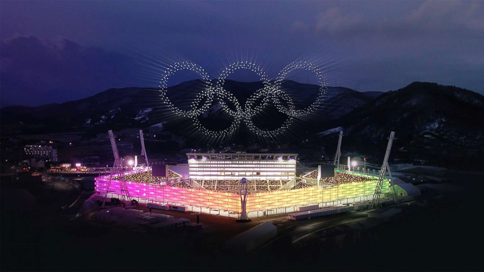 Thousands of drones were used to put on a pre-recorded light show during the opening ceremony for the 2018 Winter Olympics in Pyeongchang, South Korea, on Feb.9, 2018.