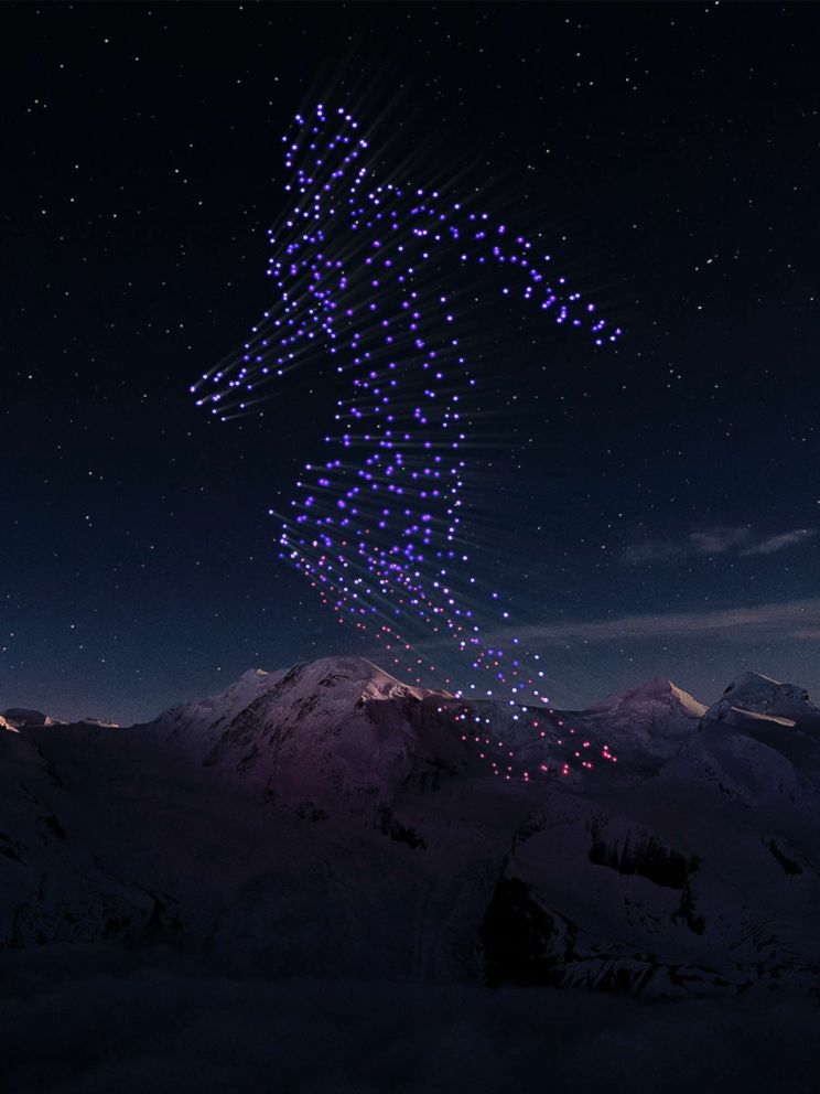PHOTO: Thousands of drones were used to put on a pre-recorded light show during the opening ceremony for the 2018 Winter Olympics in Pyeongchang, South Korea, on Feb.9, 2018.