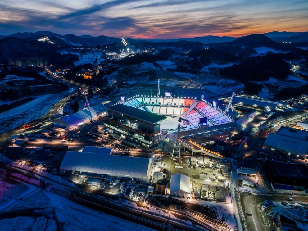 PHOTO: The Pyeongchang Olympic Stadium, the venue for the opening and closing ceremonies at the 2018 Pyeongchang Winter Olympic Games, stands at dawn in this aerial photograph taken above Pyeongchang, Gangwon, South Korea, Jan. 25, 2018.