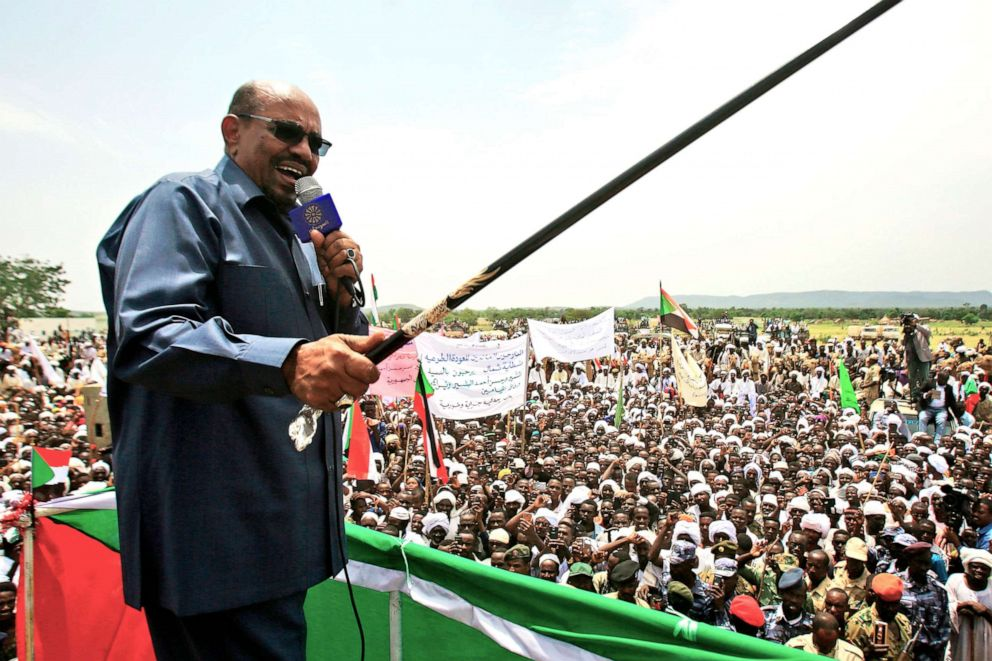 PHOTO: In this file photo taken on Sept. 22, 2017, Sudanese President Omar al-Bashir delivers a speech during a visit to the village of Shattaya in South Darfur.
