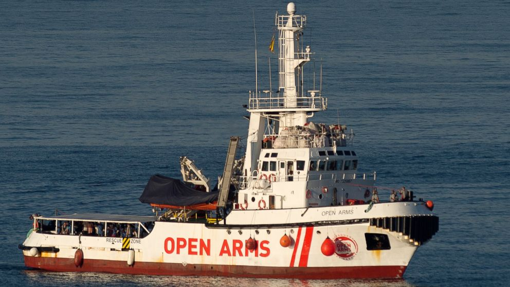 The ship of Spanish NGO Proactiva Open Arms arrives in the southern Spanish port of Algeciras in San Roque, with 87 migrants on board, Aug. 9, 2018.