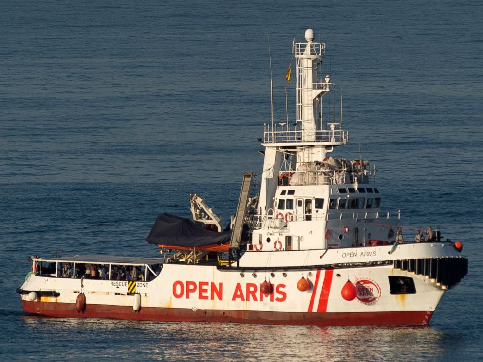 PHOTO: The ship of Spanish NGO Proactiva Open Arms arrives in the southern Spanish port of Algeciras in San Roque, with 87 migrants on board, Aug. 9, 2018.