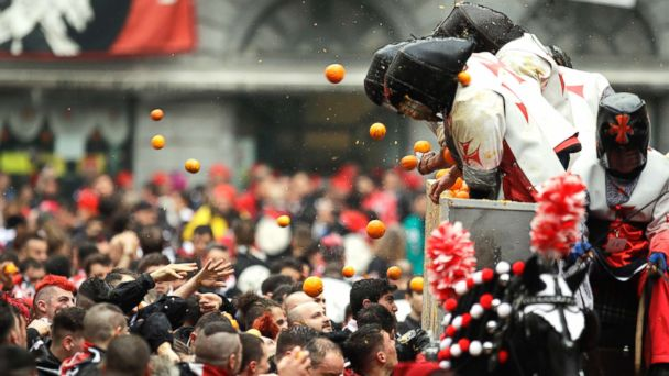 Italian town shows zest for history with 'Battle of the Oranges' food fight