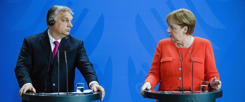 PHOTO: Prime Minister of Hungary Viktor Orban and German Chancellor Angela Merkel address a joint press conference at the Chancellery in Berlin, July 5, 2018.